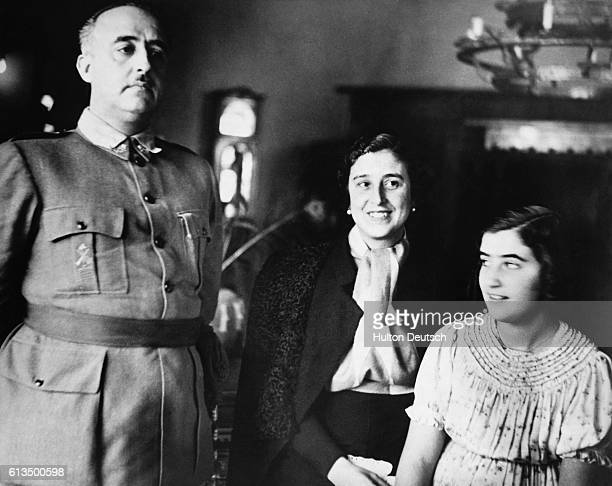General Francisco Franco the leader of Spain's Nationalist forces reunited with his wife and daughter in Barcelona after three years of civil war and...
