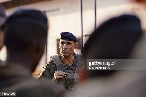 General Francisco Soriano commandant of the Sangaris force talks to the French troops based in Bossangoa during his visit on January 16 2014 The UN...