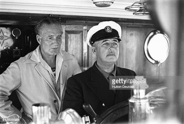 General Franco at the controls of the yacht 'Azor'