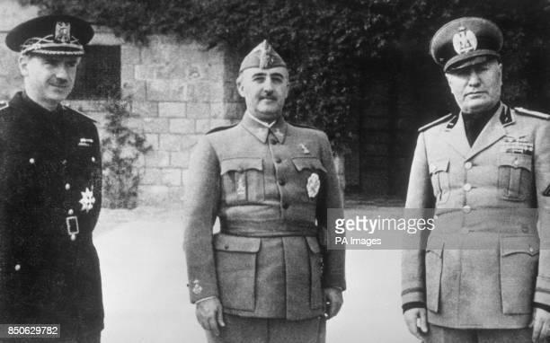 General Franco's brotherinlaw Ramon Serrano Suner General Franco and Benito Mussolini at Bordighera in Italy
