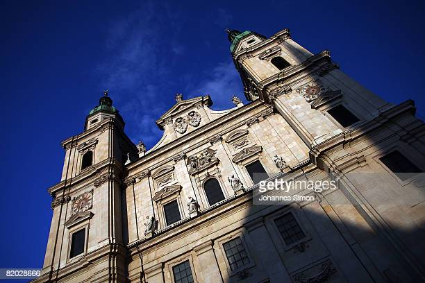 General front view of the Salzburg Cathedral, seen prior to the rehearsal of 'Jedermann' 'Everyman' of Hugo von Hofmannsthal on July 21, 2008 in...