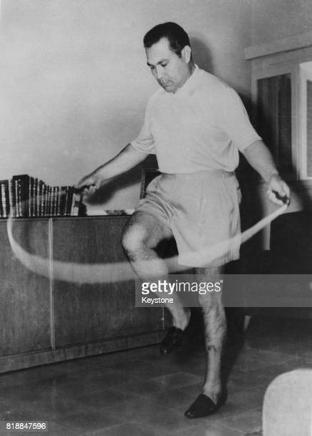 General Fulgencio Batista the President of Cuba with a skipping rope circa 1955