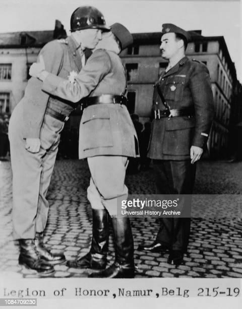 US General George Patton receiving Legion of Honor Namur Belgium 1944