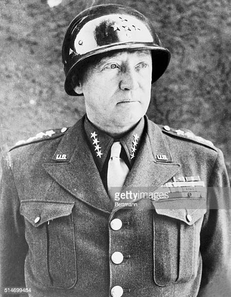 General George S Patton at the last press conference he held for war correspondents at his headquarters upon completion of the fighting in Europe