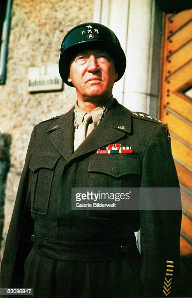 General George S Patton commander of the 3rd US Army 1945 Patton is wearing an 'Ike' jacket a military uniform blouson named after General Dwight D...