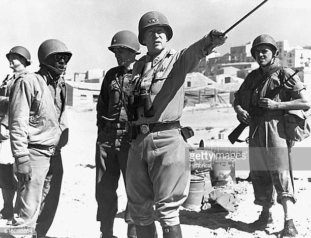 General George S Patton directs American troops in 1944 He played a significant role in the early 1944 sweep of US forces from Normandy through...