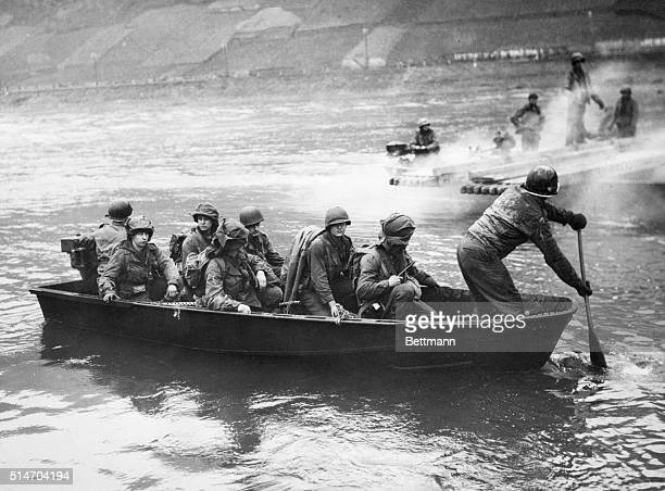 General George S Patton's Third Army crosses the River Moselle in readiness for an attack on Coblenz Germany