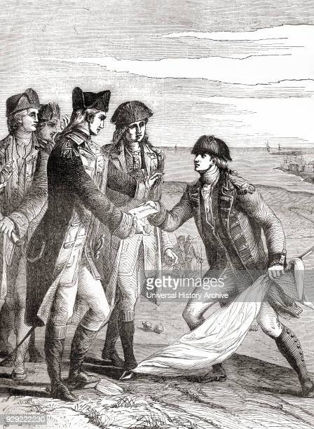 General George Washington accepting the flag of truce after the British surrender by Charles Cornwallis following the Siege of Yorktown aka Battle of...