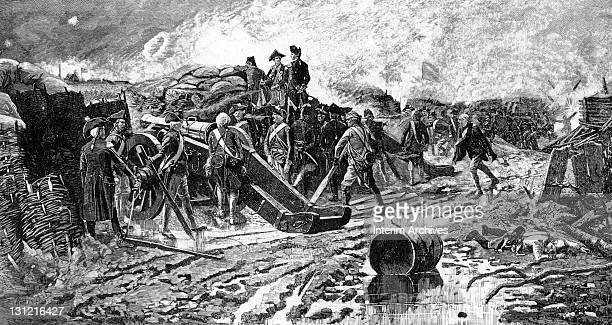 General George Washington inspects the French battery on the opening day of the siege of Yorktown October 1781 The French forces' heavy siege guns...
