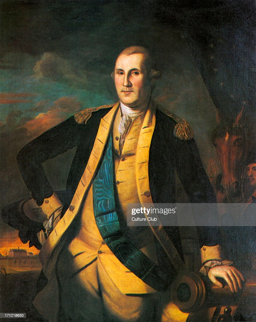 General George Washington - portrait of the first President of the United States (1789–97). : News Photo
