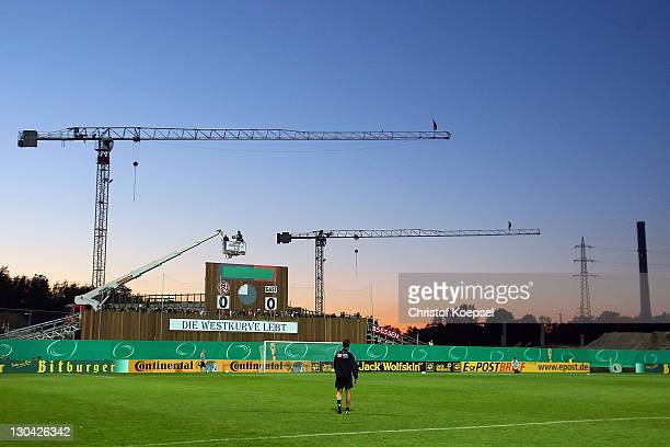 General GeorgMelchesStadion stadium prior to the during the second round DFB Cup match between RotWeiss Essen and Hertha BSC Berlin at...