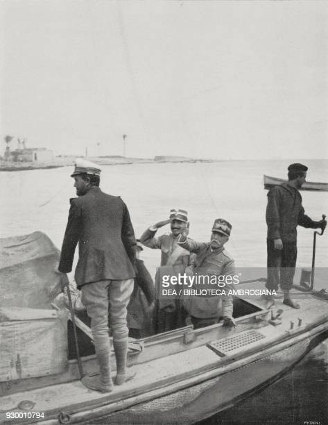 General Giovanni Ameglio saluting the garrison of Derna as he leaves to board the Birmania ship that will take him to Rhodes Libya ItalianTurkish war...