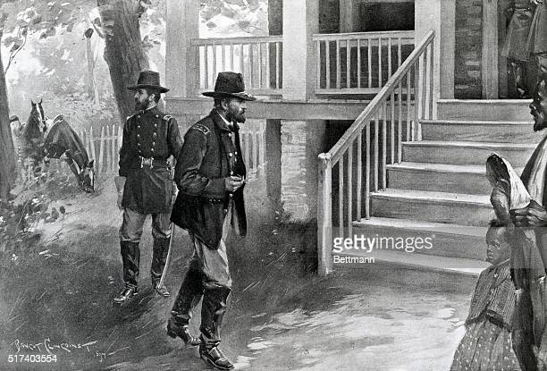 General Grant entering the McLean house to receive the surrender of General Lee's army