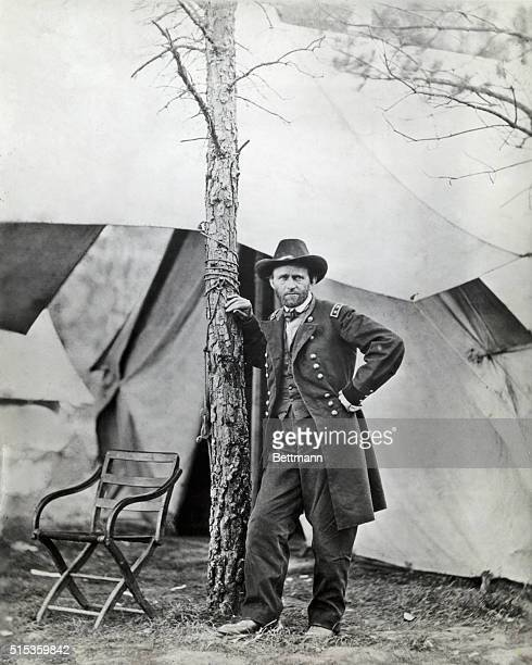 General Grant stands in front of his campaign tent at his headquarters in City Point Virginia