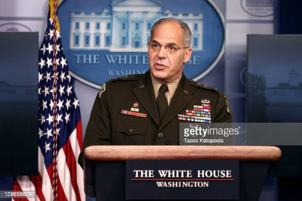 General Gustave Perna, chief operating officer for the Defense Department's Project Warp Speed, speaks during a White House Coronavirus Task Force...