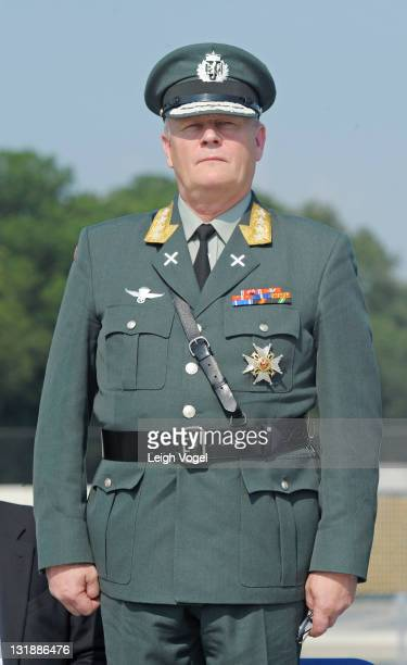 General Harald Sunde attends the Honoring Our Fallen Warriors WreathLaying ceremony at the National World War II Memorial National Mall on May 30...