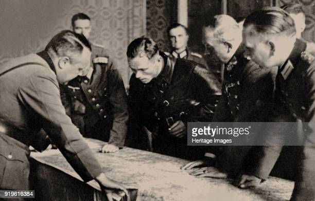 General Heinz Guderian and the Red Army commissar Borovensky during preliminary negotiations 1939 Found in the Collection of Russian State Military...