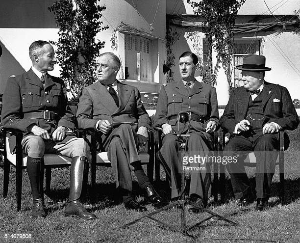 General Henri Giraud Franklin Delano Roosevelt Charles de Gaulle and Winston Churchill at the Casablanca Conference