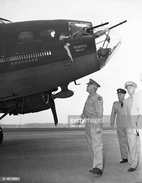 6/19/1943 General HH Arnold Chief of Army Air Force looks at the big Flying Fortress Memphis Belle as she arrived from England after eight motnhs of...