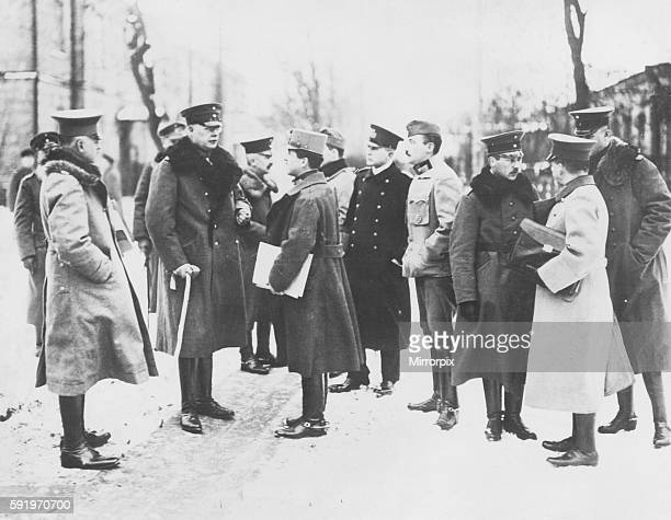 General Hoffmann, Head of the German peace delegation at Brest Litovsk in March 1918, seen here in conversation with German and Austrian delegates....