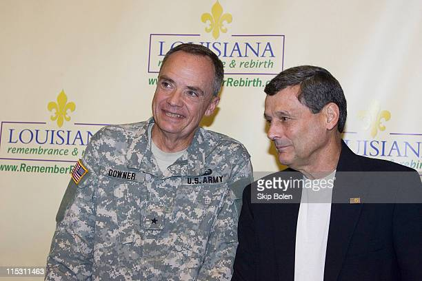 General Hunt Downer and Colonel Terry J Ebbert after they updated the press on Tropical Storm Ernesto at the New Orleans Media Center in New Orleans...