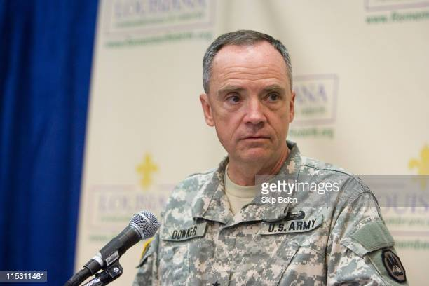 General Hunt Downerupdates the press on Tropical Storm Ernesto at the New Orleans Media Center in New Orleans Louisiana on August 26 2006 He...