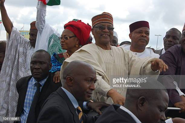General Ibrahim Babangida and Campaign Director Chief Ken Nnamani participate in a rally on September 15 2010 on Eagle square Abuja Former Senat...