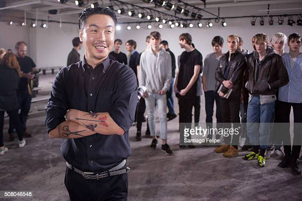 General Idea designer Choi BumSuk poses with models at the General Idea fashion show during New York Fashion Week Men's Fall/Winter 2016 Choi BumSuk...