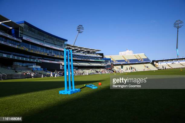 A general image of play stumps bat and ball during the Commonwealth Games new sport announcement at Edgbaston on August 13 2019 in Birmingham England