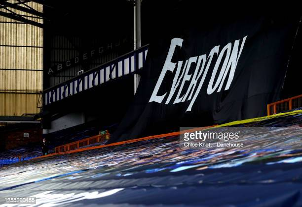 A general inside of the stadium during the Premier League match between Everton FC and Southampton FC at Goodison Park on July 09 2020 in Liverpool...