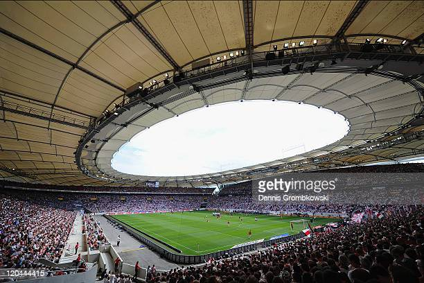 A general inside overview of the MercedesBenz Arena is taken prior to the Bundesliga match between VfB Stuttgart and FC Schalke 04 at MercedesBenz...