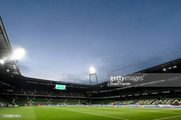 General inside view during the Bundesliga match between SV Werder Bremen and Bayer 04 Leverkusen at Wohninvest Weserstadion on May 18, 2020 in...