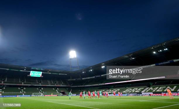 A general inside view during the Bundesliga match between SV Werder Bremen and Bayer 04 Leverkusen at Wohninvest Weserstadion on May 18 2020 in...