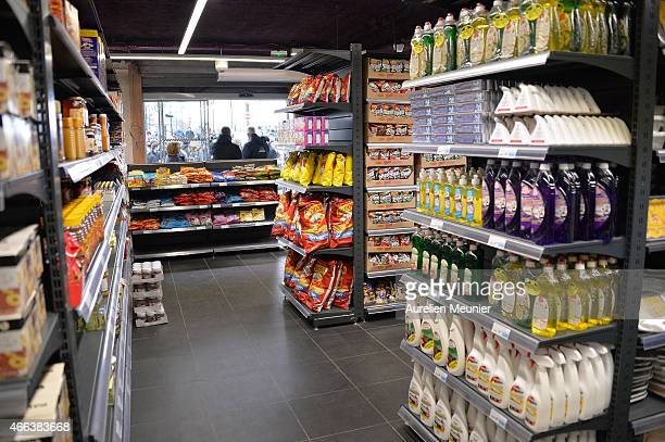 A general inside view during the reopening of Kosher supermarket Hyper Cacher which was place of a terrorist attack earlier this year on March 15...