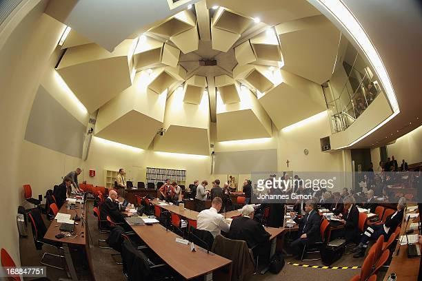 General inside view of the courtroom seen ahead of day four of the NSU neoNazis murder trial at the Oberlandgericht Muenchen court on May 16 2013 in...