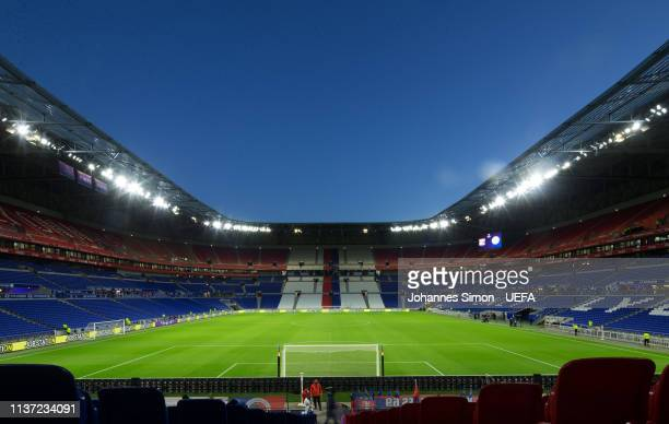 General inside view of the Groupama stadium ahead of theduring the UEFA Women's Champions League Quarter Final First Leg match between Olympique Lyon...