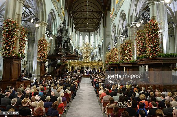 A general interior view during the swearing in and investiture ceremony of King Willem Alexander of the Netherlands in front of the two houses of the...