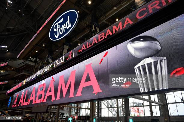 General interior view of Alabama Crimson Tide signage before the College Football Playoff Semifinal at the Rose Bowl football game against the Notre...