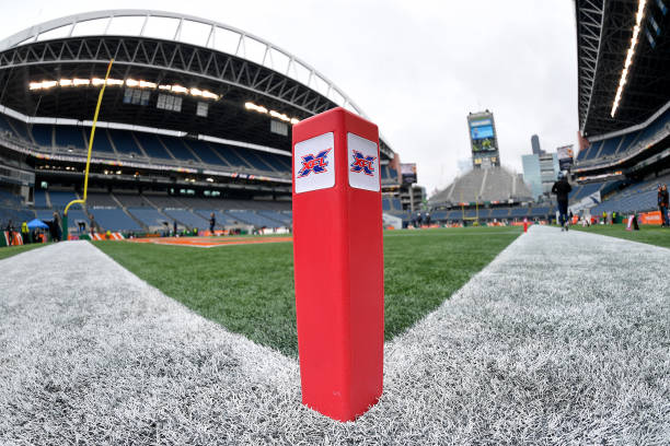 A general interior view of CenturyLink Field and an XFL end zone pylon before the game between the Seattle Dragons and the Dallas Renegades at...