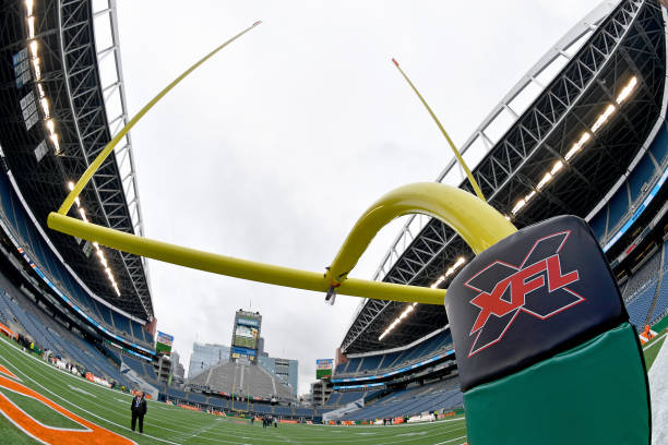 A general interior view of CenturyLink Field and an XFL goalpost before the game between the Seattle Dragons and the Dallas Renegades at CenturyLink...