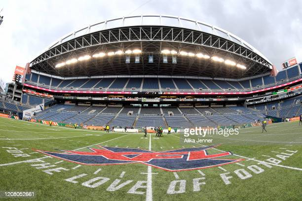 A general interior view of CenturyLink Field with the XFL midfield logo after the game between the Seattle Dragons and the Dallas Renegades at...