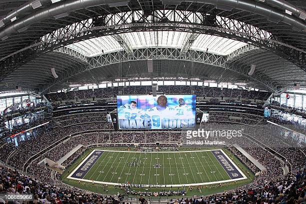 A general interior view of Cowboys Stadium as the Dallas Cowboys play against the Jacksonville Jaguars at Cowboys Stadium on October 31 2010 in...