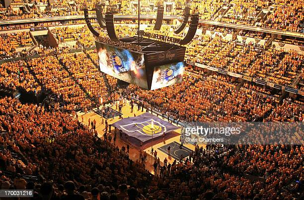 A general interior view of the arena during pregame festivities between the Indiana Pacers and the Miami Heat during Game Four of the Eastern...