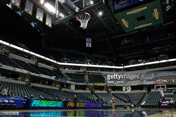 A general interior view of the empty court during the semifinals of the 2011 Big Ten Men's Basketball Tournament at Conseco Fieldhouse on March 12...