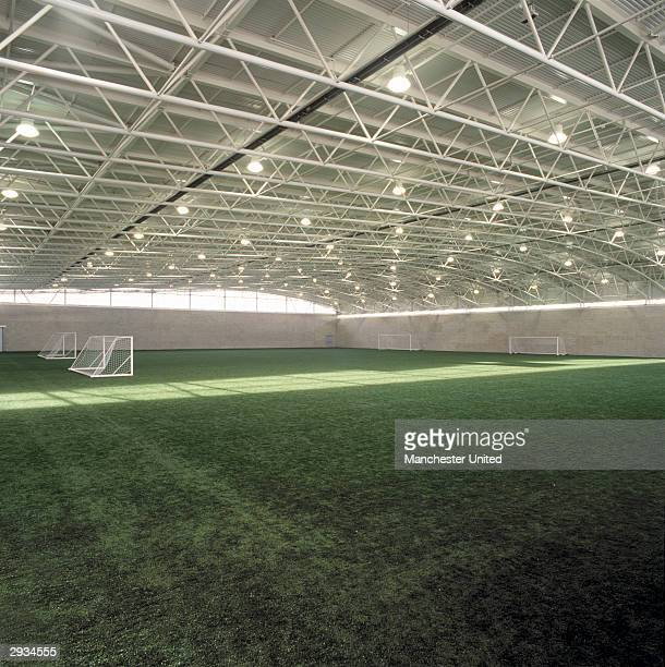 A general interior view of the indoor pitch at the Manchester United Academy building at the Trafford Training Ground in Carrington on November 25...