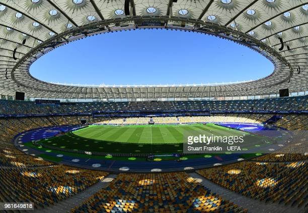 A general interior view of the NSC Olimpiyskiy stadium prior to the UEFA Champions League final between Real Madrid and Liverpool on May 23 2018 in...