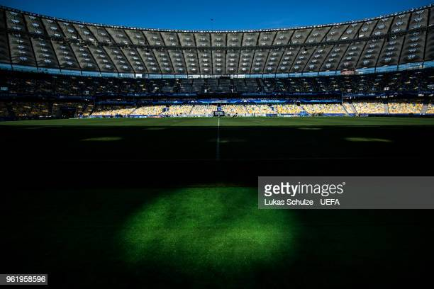 A general interior view of the NSC Olimpiyskiy stadium prior to the UEFA Champions League final between Real Madrid and Liverpool on May 24 2018 in...