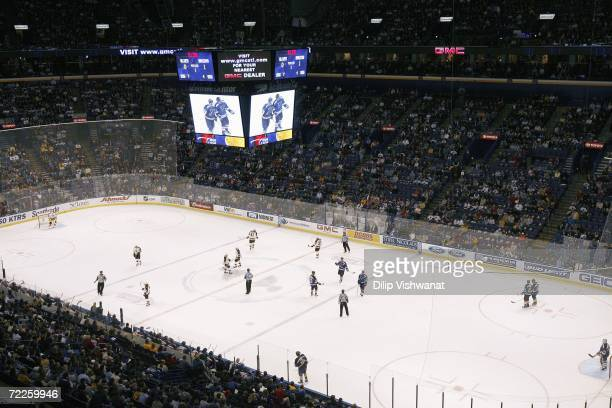 General interior view of the scoreboard and ice at Scottrade Center during the NHL game between the Boston Bruins and the St Louis Blues on October...