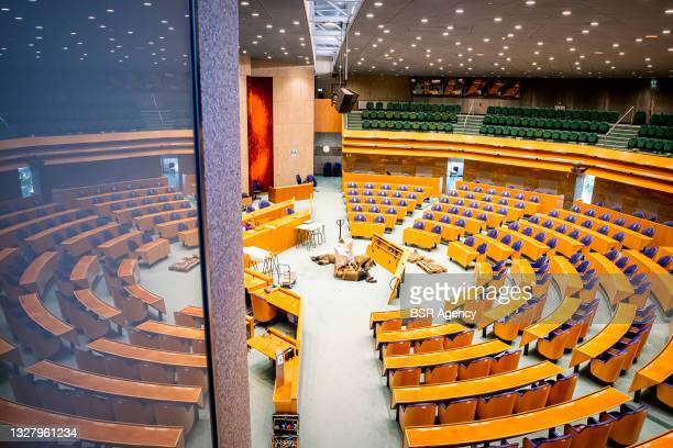 General interior view of the Tweede Kamer building is seen during the start of the relocation of the Tweede Kamer lower house of representatives on...