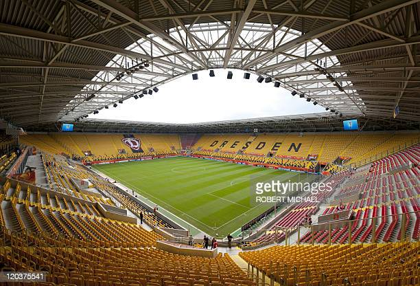General interior view shows the Rudolf-Harbig-Stadium prior to the group B football match of the FIFA women's football World Cup New Zealand vs...